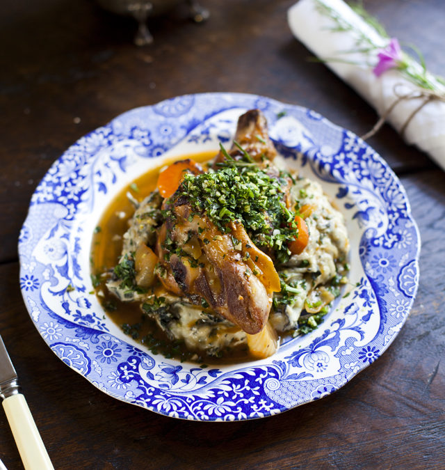 Braised Connemara Hill Lamb Shanks with Nettle Mash by Donal Skehan