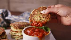 Courgette Fritters with Tomato Sauce