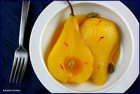 Pears Poached in a Saffron Syrup