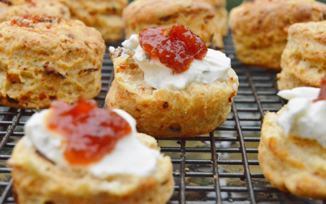 Mini Cheese Scones with Chilli Jam and Ardsallagh Goats Cheese